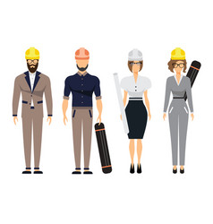 engineers and architect set with civil engineering vector image