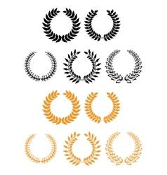 Heraldic set of foliate and laurel wreaths vector image