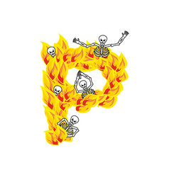 Letter p hellish flames and sinners font fiery vector