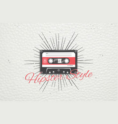 logo music store hipster style detailed elements vector image vector image