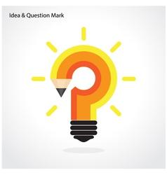 Pencil question mark and light bulb vector