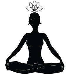 silhouette of woman practicing yoga in lotus posit vector image vector image