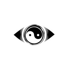 Vision eye logo with harmony symbol vector