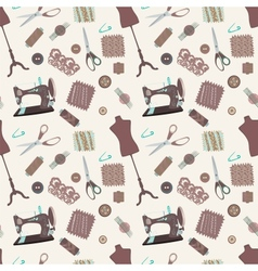 Retro seamless pattern with sewing accessories vector image