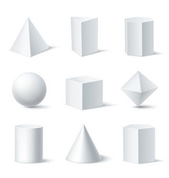 3d shapes white set vector