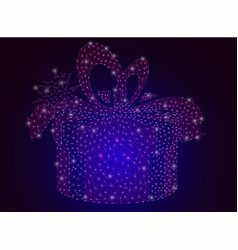 a box with a gift on a dark background a vector image
