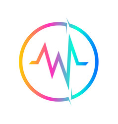 Abstract colorful audio wave in circle logo sign vector