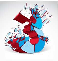 abstract low poly wrecked colorful number 3 with vector image