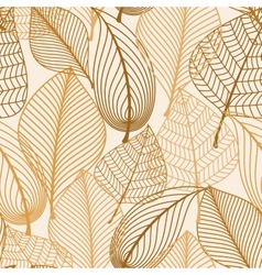 Atumnal seamless pattern with brown leaves vector image