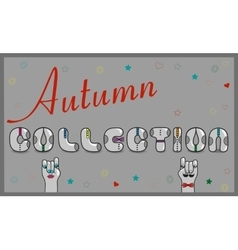 Autumn Collection Artistic font vector image