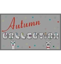 Autumn collection artistic font vector