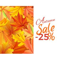 autumn sale -25 off icon yellow foliage vector image