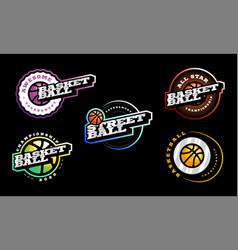 basketball logo set modern professional vector image