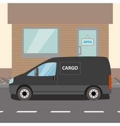 Black delivery Van vector image