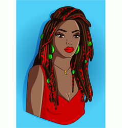 Black girl with dreadlocks vector