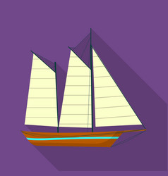brig ship icon flat style vector image