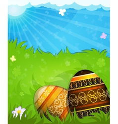 Brown and beige painted Easter eggs vector
