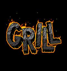 burning grill vintage desert inscription vector image