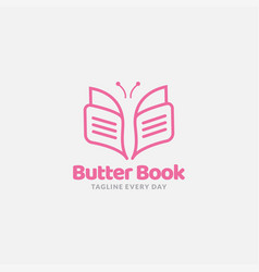 Butterfly and book line modern logo minimalist vector