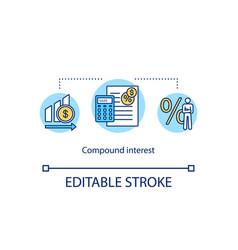 Calculating compound interest concept icon vector