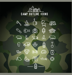 Camp outline icons camping activities vector