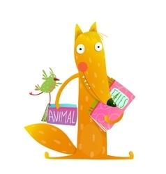 Cartoon fox reading books with bird friend vector image vector image