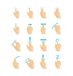 cartoon touch screen gestures set vector image