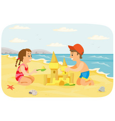 children making sand castle at tropical island vector image