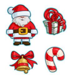 christmas cartoon icon set - santa claus gift vector image