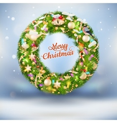 Christmas garland with baubles EPS 10 vector image
