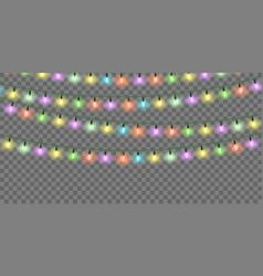 christmas lights set color xmas garlands vector image