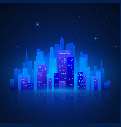 city landscape futuristic night lights vector image