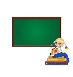 cute cartoon school girl sitting on books pile vector image