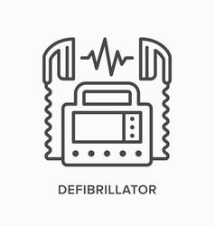 defibrillator flat line icon outline vector image