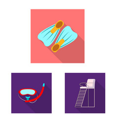 design of pool and swimming logo set of vector image