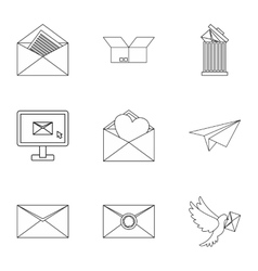E-mail icons set outline style vector image