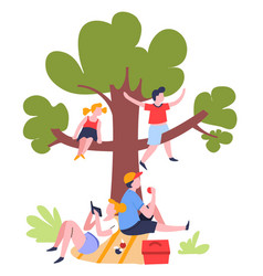 family picnic under tree outdoor summer activity vector image