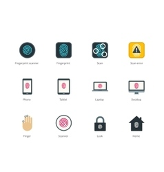 Fingerprint and devices color icons on white vector image