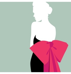 girl with a red bow vector image
