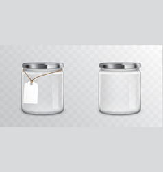 glass jars with metal libs and tag vector image
