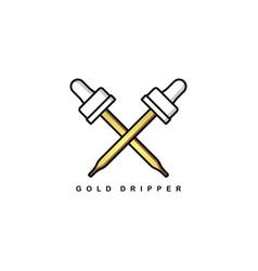 Gold drip tip theme sign symbol vector