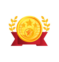 gold medal award with red ribbon and laurel vector image
