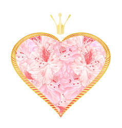 Golden hearts with a crown and flowers light pink vector