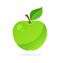 Green apple with stem and leaf vector