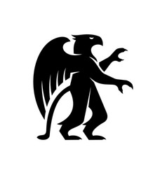 Griffin silhouette isolated half lion and eagle vector