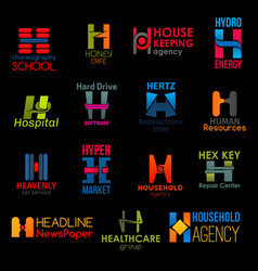 h letter icons clinic business corporate identity vector image
