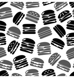 Hamburgers types fast food icons seamless black vector
