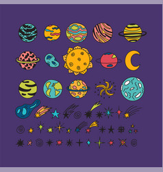 hand drawn planets stars asteroids and other vector image