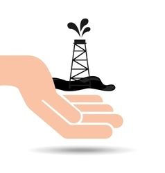 Hand oil industry drilling tower vector