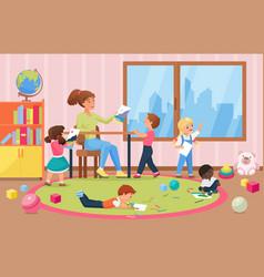 Happy kids artists painting for teacher vector